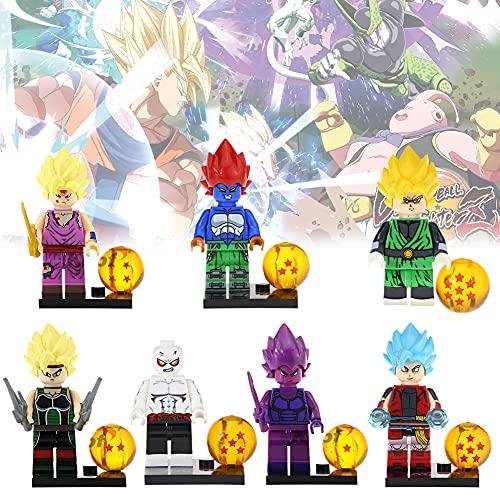 Dragon Ball Cupcake Toppers Hilloly 7 Pièces Dragon Ball Mini Figuras Pastel Decoración Suministros Dragon Ball Anime Dibujos Animados para Adorno de Torta