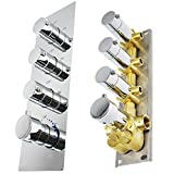 HOMEDEC 3-Outlet Modern Shower Diverter Valve Thermostatic Mixer Solid Brass with Chrome Trim for Bathoom Shower System (Concealed Vertical installation, 4 Round Handles)