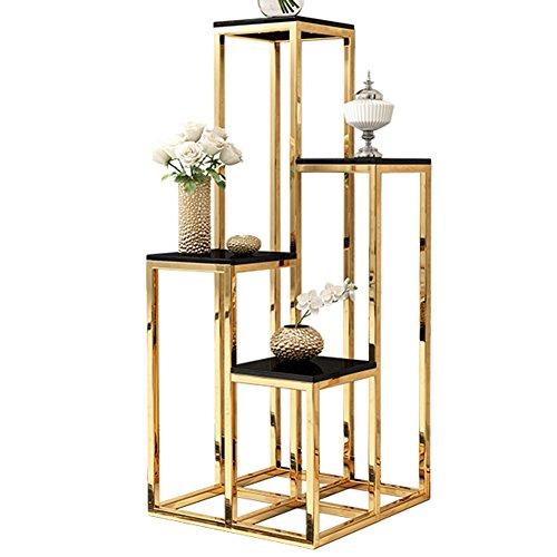 Blumenregal Flower Stand Edelstahl Multi-Layer-Boden Rack, 40cm * 40cm * 90cm, Champagner Gold/Rotgold FenPing (Farbe : Champagne Gold)
