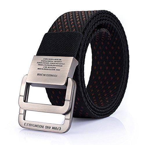 YNZSA Cinturón de lona hebilla doble para hombres deportes al aire libre y estudiantes de ocio cinturón de nylon puro, rojo vino B entre negro, 125 cm