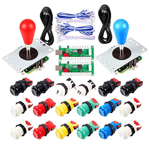 2 Piezas de Arcade Joystick para bricolaje codificador USB + 2X Ellipse Oval Joystick Handle 18x Botones estilo americano Arcade para PC, MAME, Raspberry Pi, sistema Windows (Kit Mezcla De Colores)