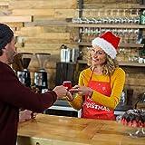 KATOOM Weihnachten Schürze Lustig Kochschürze Schneemann Weihnachtsmann Rentier Küchenschürze Rot Latzschürze für Weihnachtensparty Heiligabend Chef Damen Herren - 3