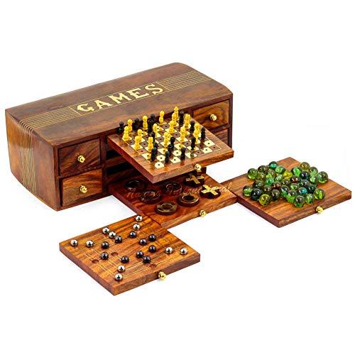 Nagina International 4 in 1 Multi Games Holzkiste | Tic Tac | Schach | Murmeln | Domino | Stahlkugeln Platte