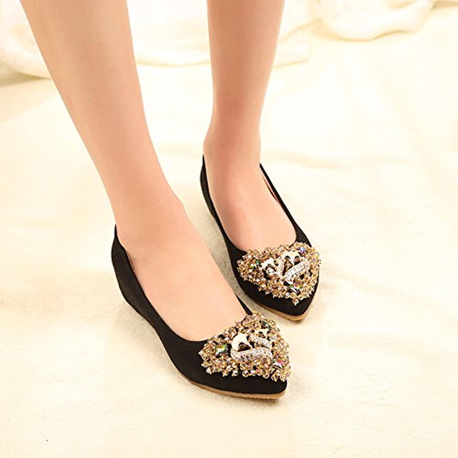 WHW Women shoes marriage shoes single shoe points within the port increased very flat shoe ,black,32