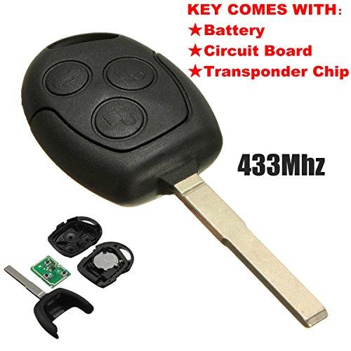 Katur - mando a distancia de 3botones, 433,92MHz, hoja recta, FOB Para Ford/Focus, para Galaxy/C Max/Mondeo/Fiesta