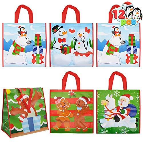 12 Christmas Tote Gift Bags, Extra-large Reusable Bags for Classroom Party Favor Supplies, Xmas Shopping Bags, Holiday Party Supplies Goody Bags