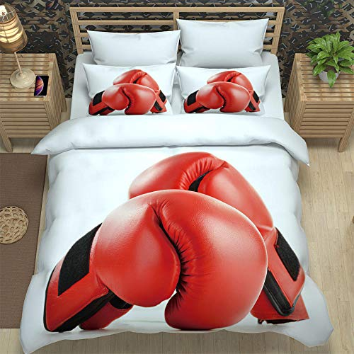 N / A Kinder Bettwäsche Set 3D Boxhandschuhe Mikrofaser Einfache Bettwäsche Set Gemütlich Bettbezug Kissenbezug Betten Schlafzimmer 220X240Cm