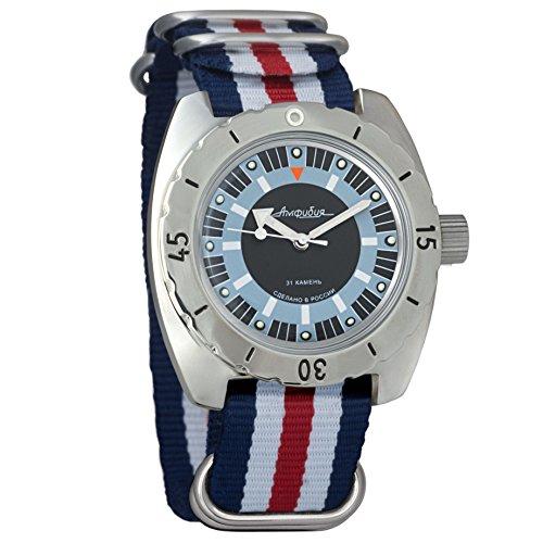 Vostok Amphibian 150927 - Reloj de pulsera automático para hombre, diseño de bomba de buceo militar