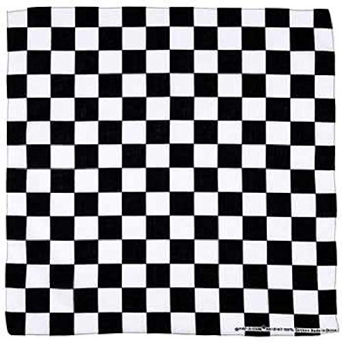 Bandanna Black & White Checkered ~ Wearable Art 100% Cotton - Scarf