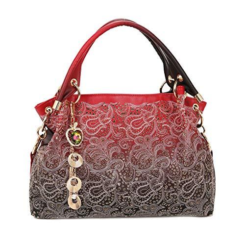Tisdaini® Bolsos de mano Mujer Bolsos bandolera Moda tallado Cuero suave Bolsos totes Shoppers y bolsos de hombro Vino rojo