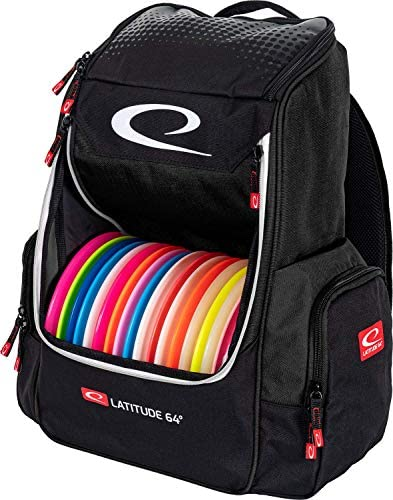 Latitude 64 Black Core Disc Golf Backpack 20 Disc Capacity Two Section Top Compartment Two Side product image