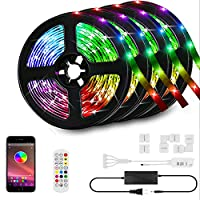 HunHun 65.6-Foot RGB LED Strip Lights with Bluetooth Controller and Remote