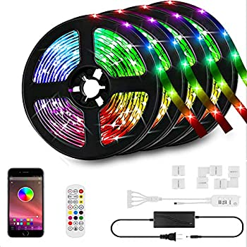 HunHun 65.6-Foot RGB LED Strip Lights with Bluetooth Controller