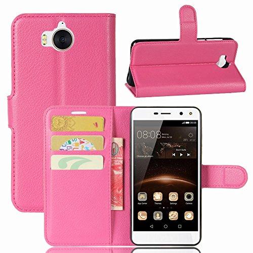 MISKQ Cover per Huawei Nova Young Mya-L11,Fondina a Portafoglio Clamshell,Custodia per Cellulare a Prova di Cadute,Custodia in Silicone(Rosa Rossa)