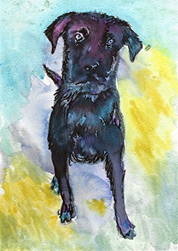 ACEO ATC Art Card Painting Print Signed Lab Labrador Dog Dogs Puppy Pet Animal