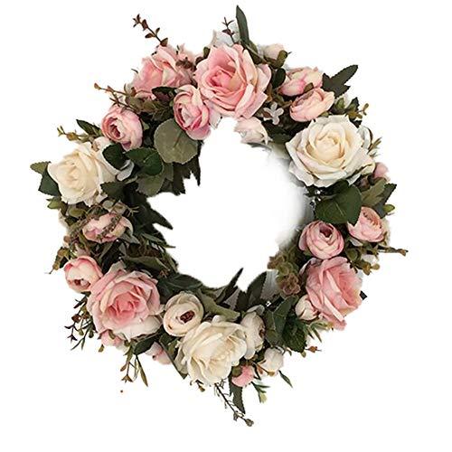 Lumanuby. 1x Rosa-Champagner Blühende Rose Wandkranz Mehrzweck für Hochzeitsszenen Oster- oder Frühlingsdeko, Tischdeko Türkranz oder Wanddeko für Haus und Wohnung, Seidetuch, Durchmesser 32cm