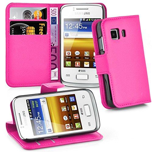 Cadorabo Hülle für Samsung Galaxy Young 2 - Hülle in Cherry PINK – Handyhülle mit Kartenfach und Standfunktion - Case Cover Schutzhülle Etui Tasche Book Klapp Style