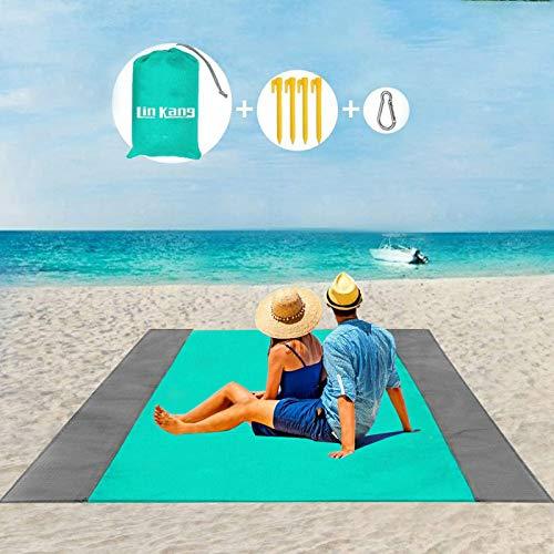 LIN KANG Coperta da Spiaggia Coperta da Picnic Tappetino da Picnic Anti Sabbia 210 X 200 cm Portatile Impermeabile con 4 Picchetti Fixed per Spiaggia, Picnic,Campeggio e Altro 210 X 200cm, Verde