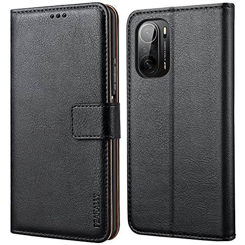 Peakally Funda Xiaomi Poco F3 5G / Mi 11i, Premium Piel Carcasa Xiaomi Poco F3 5G / Mi 11i Cuero Fundas PU Case Suave con Tapa [Soporte Móvil] [Ranuras para Tarjetas] -Negro