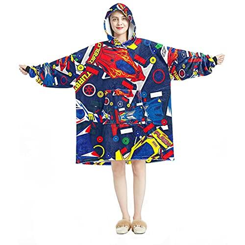 Manta con capucha, casual de microfibra suave, camisón cálido para hombres y mujeres con dibujos animados diseños de coches de carreras