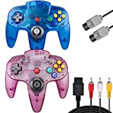 PGYFDAL 2 Pack Classic Controllers for N64 Gaming, Wired N64 Gamepad Joystick with 1 Root 5.9FT N64 AV Controller Extension Cable (Sapphire Blue and Transparent Purple)