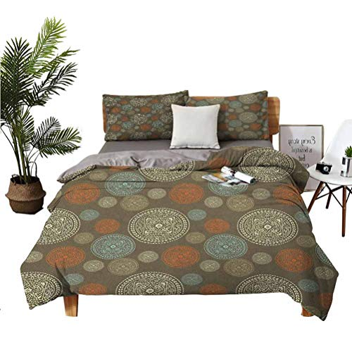Oriental Comfortable Series Home Furnishing Fashion Soft Sheet 3-Piece Set n Boho Circular Motifs with Flowers and Swirls Earth Tones Moroccan Image Super Soft Anti-Wrinkle Fade breathab