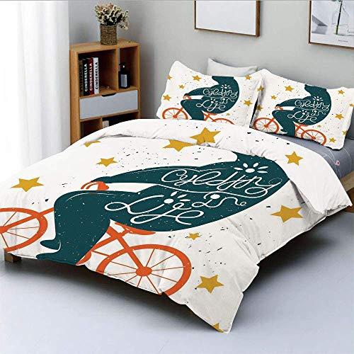 Juego de funda nórdica, silueta de un oso gigante en bicicleta con efectos angustiados y estampado de estrellas Juego de cama decorativo de 3 piezas con 2 fundas de almohada, azul naranja amarillo, el