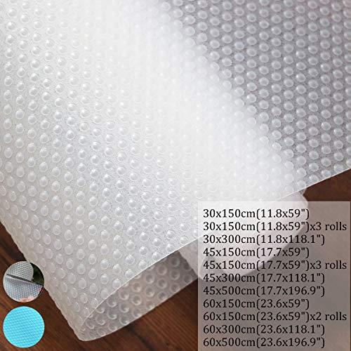 Hersvin Rivestimento per mensole, antiscivolo, non adesivo, impermeabile, in etilene vinil acetato, per armadi, cassetti, frigorifero, anti-umidità, per casa e ufficio (Transparent, 30x300cm)