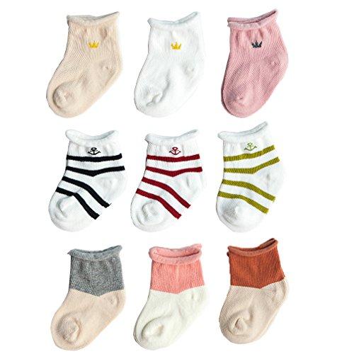 Z-Chen 9er Pack Baby Baumwolle Socken, 6-12 monate, Set 2