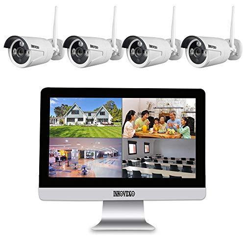 Inkovideo INKO-WM-224 - Grabadora de red inalámbrica (4 canales, pantalla LCD de 25,4 cm (10') y 4 cámaras de vigilancia Full HD