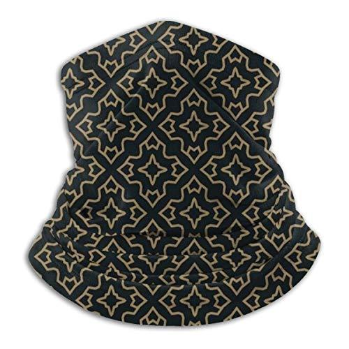 Calentador de Cuello de Microfibra Unisex Que Se Cruza con Finas Líneas Doradas Sobre Fondo Negro Pasamontañas Sombreros Bufanda para Polvo Viento Protección Solar