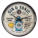 Nostalgic-Art, Reloj Retro de Pared, Gin & Tonic – Idea de Regalo para Aficionados a cócteles, Gran decoración para la Cocina, Diseño Vintage, Ø 31 cm