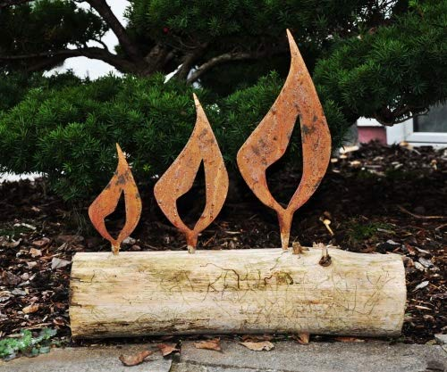 Edelrost Flamme für Baumstamm Kerzen Weihnachtsdeko (2) Höhe 16cm