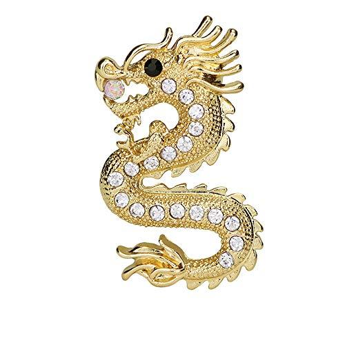 YLL Drachen Brosche männlich Retro Corsage weiblichen Mantel Accessoires Anzug Stift Zodiac Abzeichen Schmuck Pullover Schal Clip (Farbe : Gold)