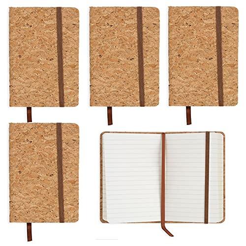 5 Blocs de Notas con Líneas de Ochenta Hojas (160 Páginas) Natuiahan. Pack de 5 Cuadernos con Rayas y Tapas de Corcho. Suministros de Oficina. Medidas 14,5 x 9 cms
