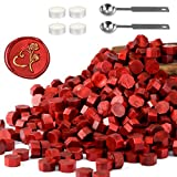 Yoption 360 Pcs Metallic Red Sealing Wax Beads Set for Wax Seal Stamp with Candles and Melting Spoon