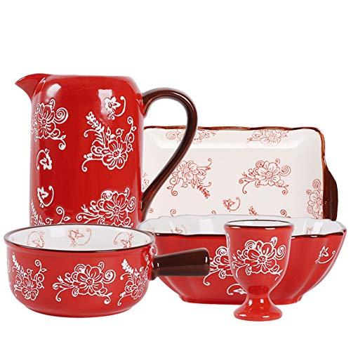 NECZXW1 Juego de vajilla de cerámica Artesanal Pintada a Mano, Estilo Rural Resistente, ecológico y Duradero, cumpleaños, Fiesta Infantil, Cena de Banquete