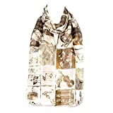 HatToSocks Musical Instruments and Notes Chiffon Satin Scarf (Beige/Brown)
