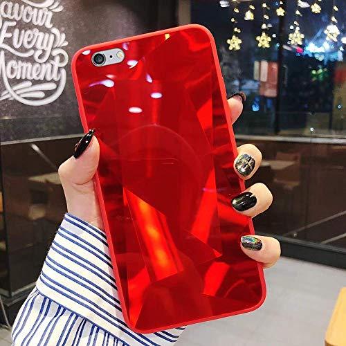 Uposao Kompatibel mit iPhone 6S 4.7 Hülle Spiegel Handyhülle Glänzend Glitzer Strass TPU Silikon Hülle Schutzhülle Überzug Mirror Case Stoßfest Cover Dünne klare weiche TPU Hülle,Rot
