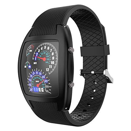 FAMKIT Relojes deportivos digitales para hombre, reloj de pulsera para exteriores, relojes multifunción, reloj de pulsera LED de cuarzo analógico que puede mostrar año, mes y día