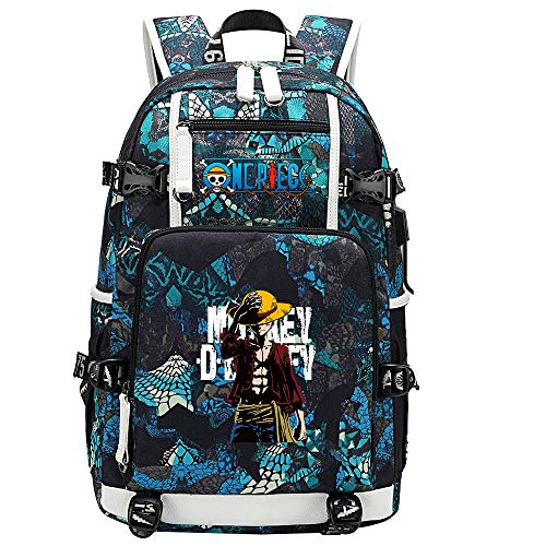 ZZGOO-LL One Piece Monkey·D·Luffy/Roronoa Zoro Anime Backpacks Student School Bag Laptop Backpack with USB Charging Port-A