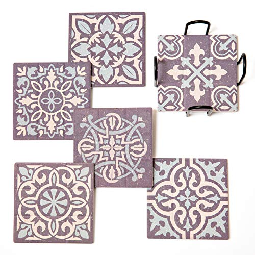 ELIZA COLE Ceramic Stone Coasters with Holder - Set of 6 Wildwood Collection Cool Coasters for Drinks Absorbent Pretty Coasters Farmhouse Coasters Coasters for Wooden or Glass Table Absorbant