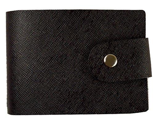 6色 特殊レザー ダブルスナップ オリジナル仕様 傷つきにくい特殊素材 超軽量(約60g) やや硬め素材 16ポケット カードケース 女性にも人気 名刺入れ 最大32枚収納可能 (ブラック)
