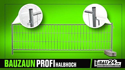 8 x Bauzaun Profi halbhoch - Mobilzaun Mit Rundumverschweißung, 3,5 m x 1,2 m, 8 kg, Verzinkt - Set Mit 8 Stück