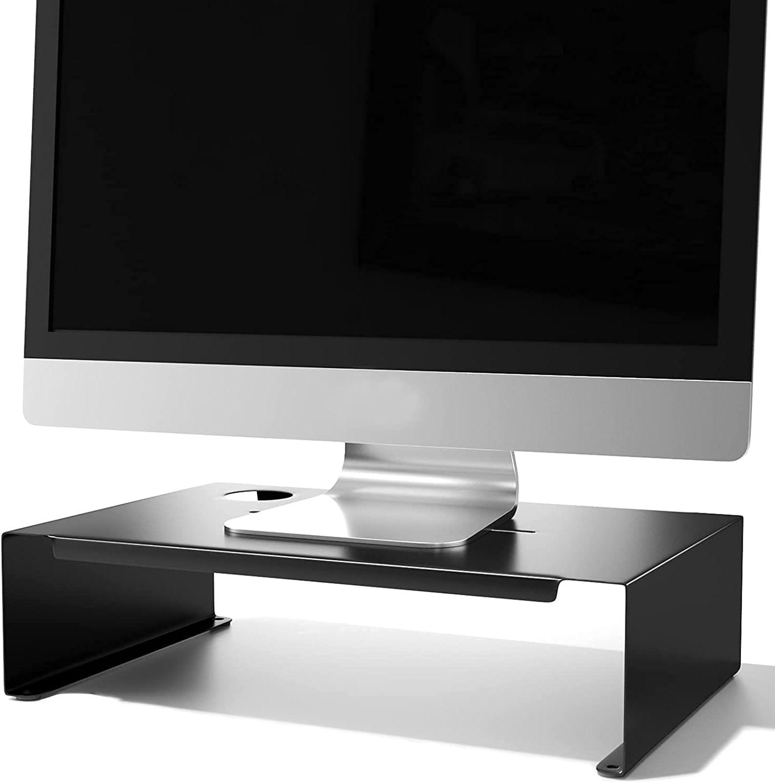 Soporte para monitor, PC y portátil, con guía de cables para ordenador portátil, ordenador, portátil, elevador de monitor, para iMac, montaje cero de acero