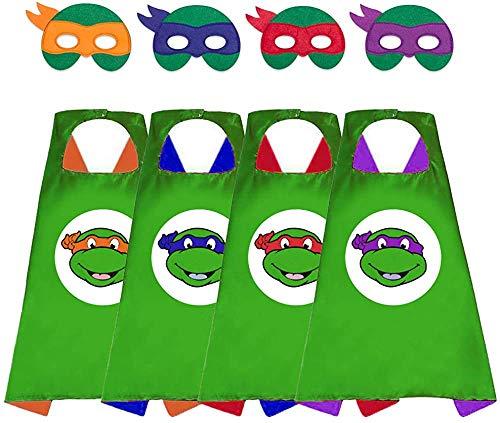 HONGTEYA TMNT Ninja Turtle Masken und Capes 4-teiliges Superhelden-Kostüm