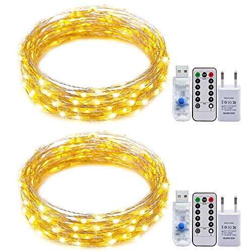 USB-Schnur-Lichter,RcStarry(TM) 2er stück 5M 50 LEDs Silberdraht Lichterkette Wasserdichte USB LED Silber Sternenlicht mit 8-Tasten Fernbedienung und Energie-Adapter, Innen- und Außendeko - Warmweiß