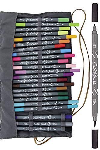 Online 81463 Calli.Brush, Handlettering Brush-Pens, 24er Set Pinsel-Stifte, Kalligraphie-Set in Roll Pouch Geschenk-Verpackung, Calligraphie-Spitze, Pinsel-Spitze für Bullet Journaling, Wasserfarben