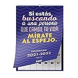 Calendario pared 2021-2022 (24 MESES) con frases motivadoras, de superación y positivas. Almanaque planificador mensual y semanal de 2 años. Agenda espaciosa.