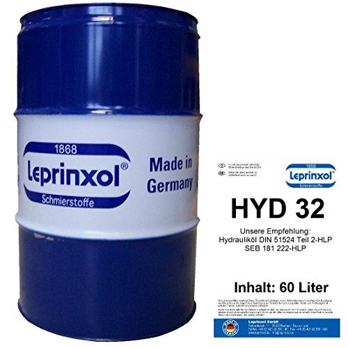 Leprinxol 60l FASS HYD 32 HYDRAULIKFLÜSSIGKEIT 60 Liter Werkstattfass Hydrauliköl HLP 32 Mineralöl Druckflüssigkeit Hydraulik Öl DIN 51524 Teil 2-HLP SEB 181 222-HLP VDMA